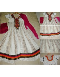 White and Pink Anarkali Chudidar : KC-04