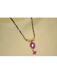 Ruby Black Beads Chain - S25 - 158A