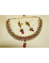 Polki Necklace Set -  S25 - 3