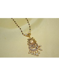 Black Beads Chain with Uncut Pendent - S27 - 6