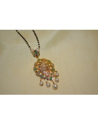 Black Beads Chain with Uncut Pendent - S27 - 8