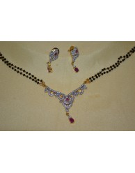 Black Beads Chain with CZ Pendent - S27 - 9