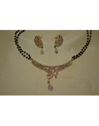 Black Beads Chain with CZ Pendent - S27 - 19